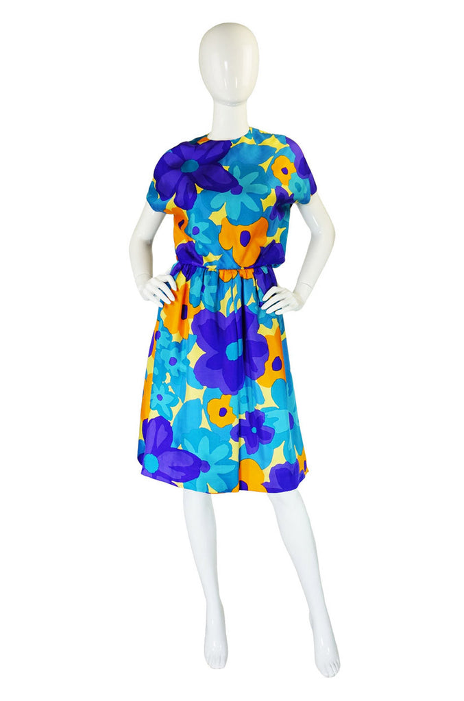 1960s Geoffrey Beene Colorful Silk Dress