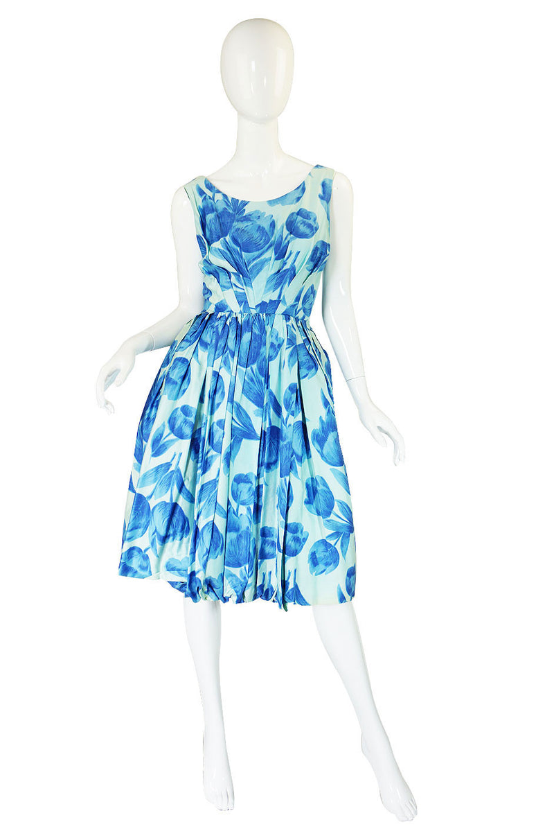 1960s Gigi Young Blue Floral Sun Dress