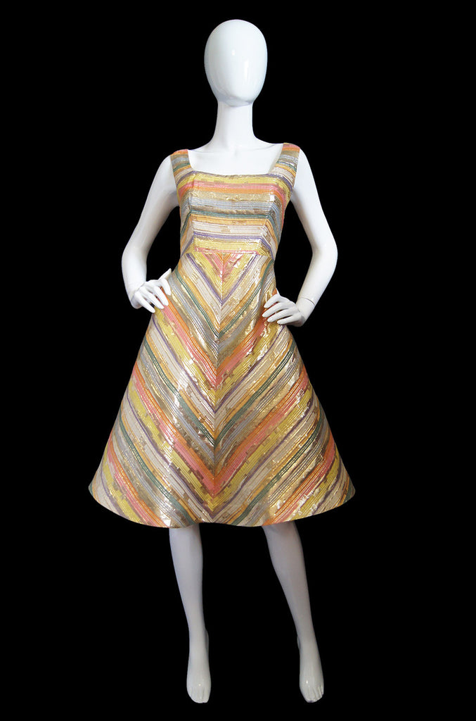 1960s Gold & Pastel Foil Striped Dress