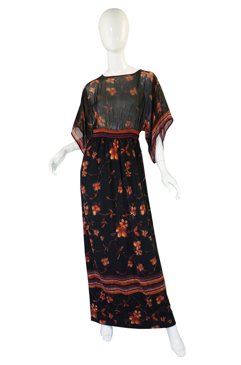 1960s Goldworm Silk & Knit Caftan Dress