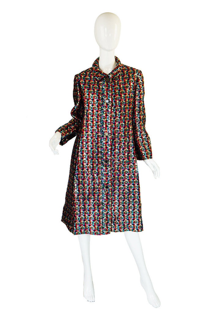 1960s Harlequin Metallic Brocade Coat