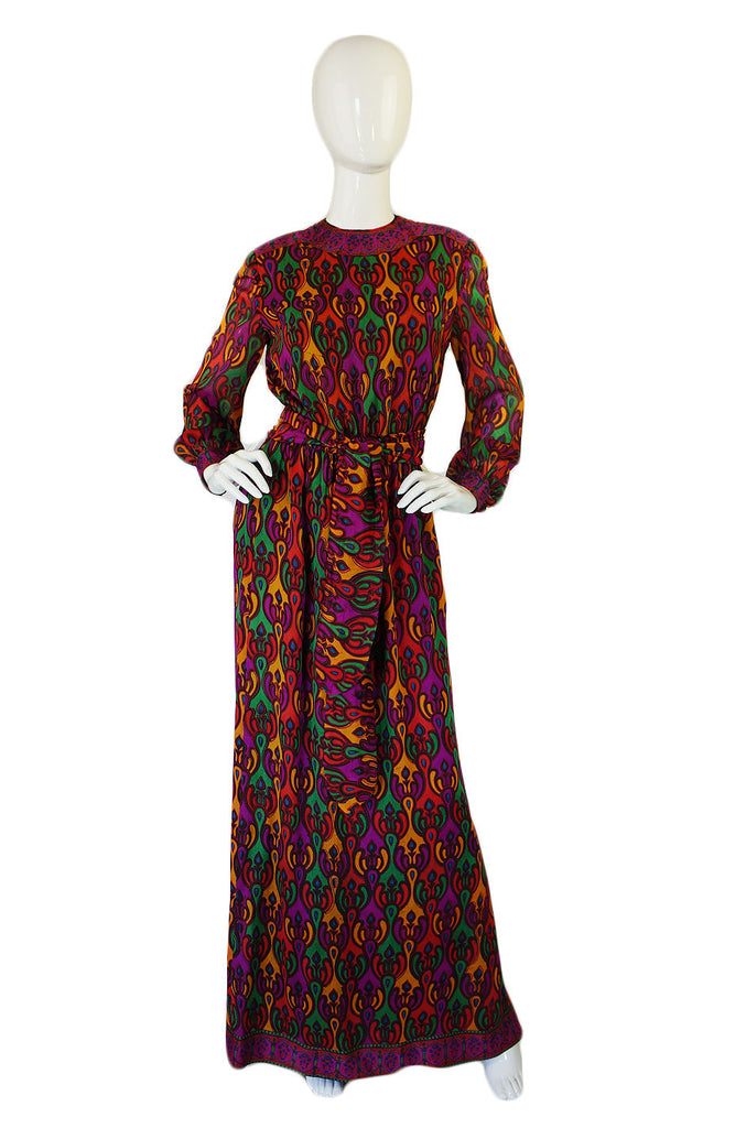 1960s Indian Silk Treacy Lowe Maxi Dress