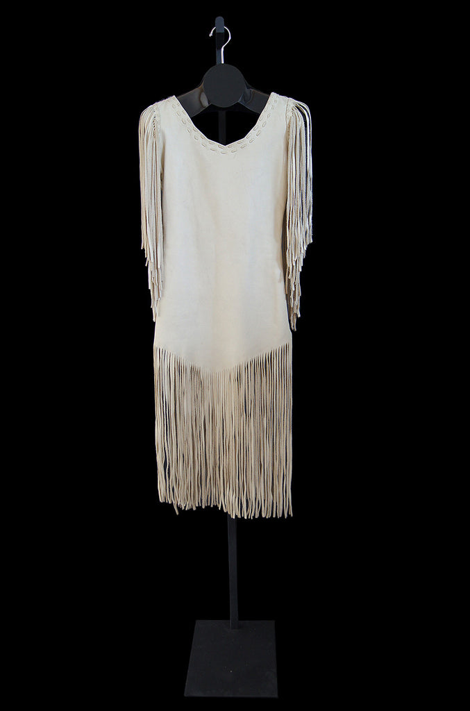 1960s Fringe Leather Hippie Chic Dress