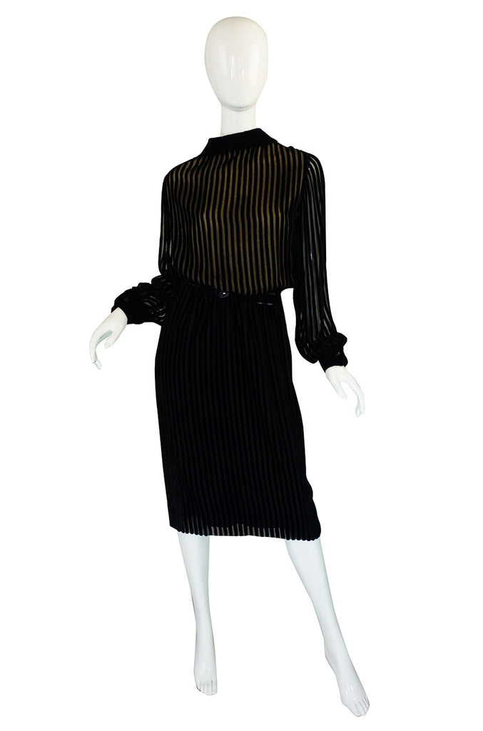 1960s Jean Louis Demi-Couture Silk Chiffon & Velvet Dress