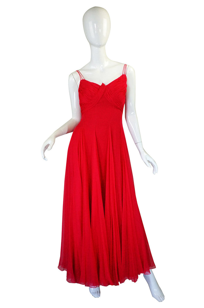1950s John Wanamakers Red Silk Gown