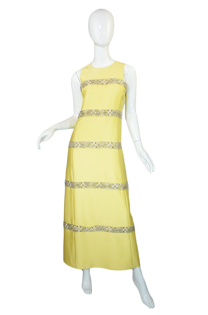1960s Malcolm Starr Silk Beaded Gown