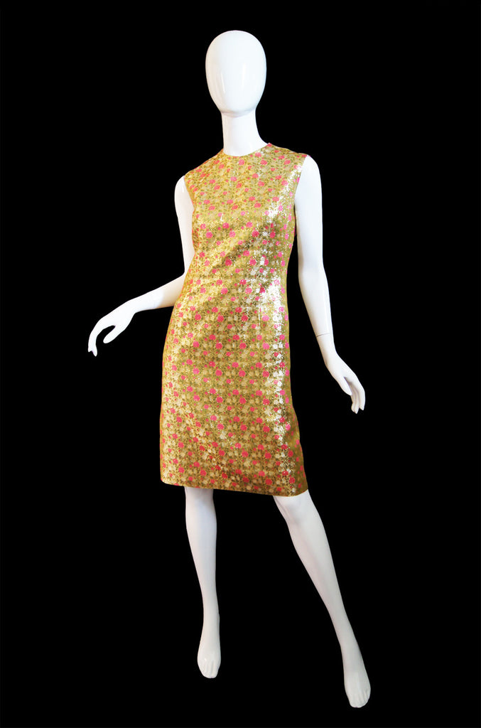 1960s Pink & Gold Brocade Anne Fogarty