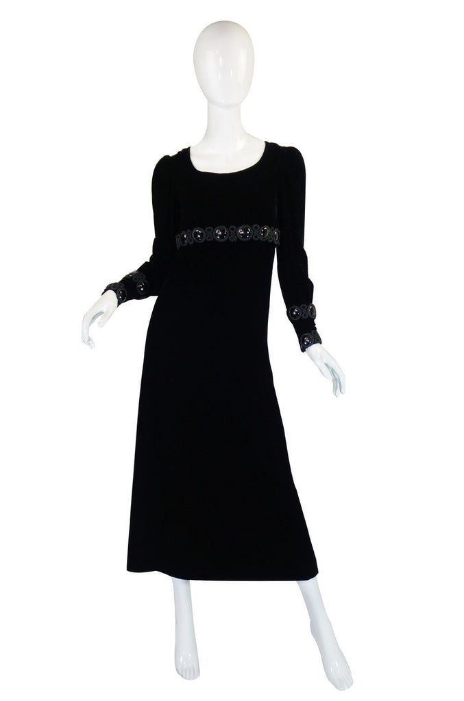 Late 1960s Miss Dior Velvet Midi Dress w Large Bead and Cord Detailing
