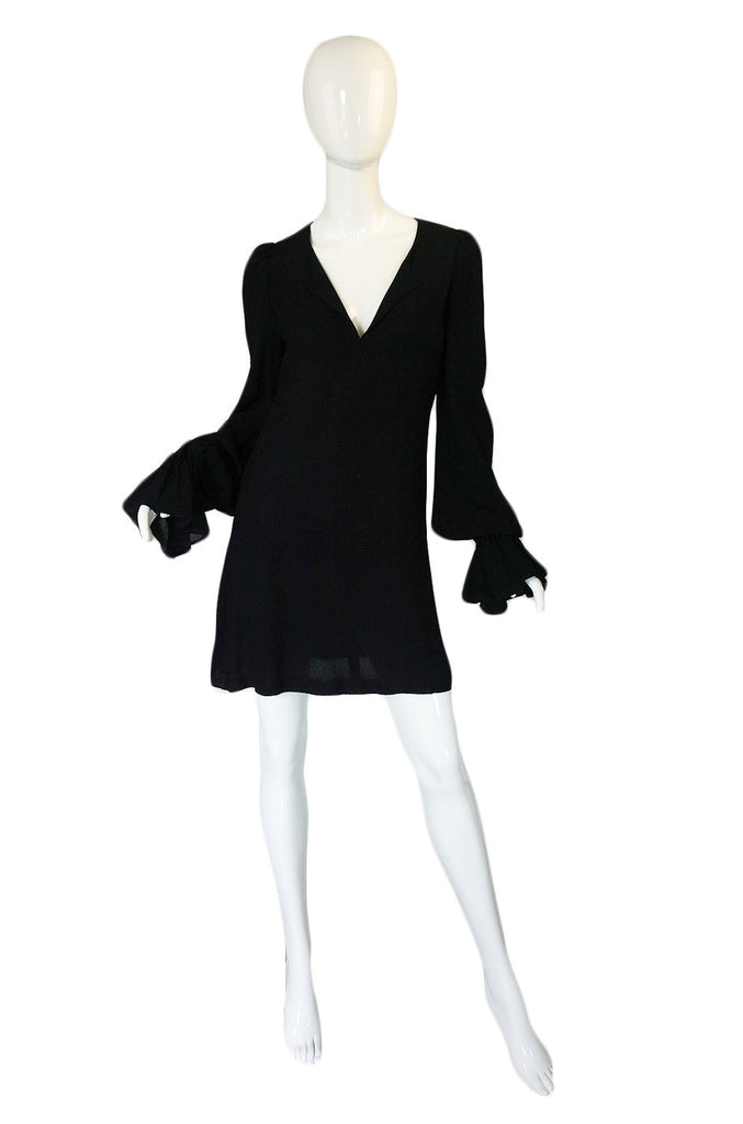 1960s Moss Crepe Black Biba Mini Dress