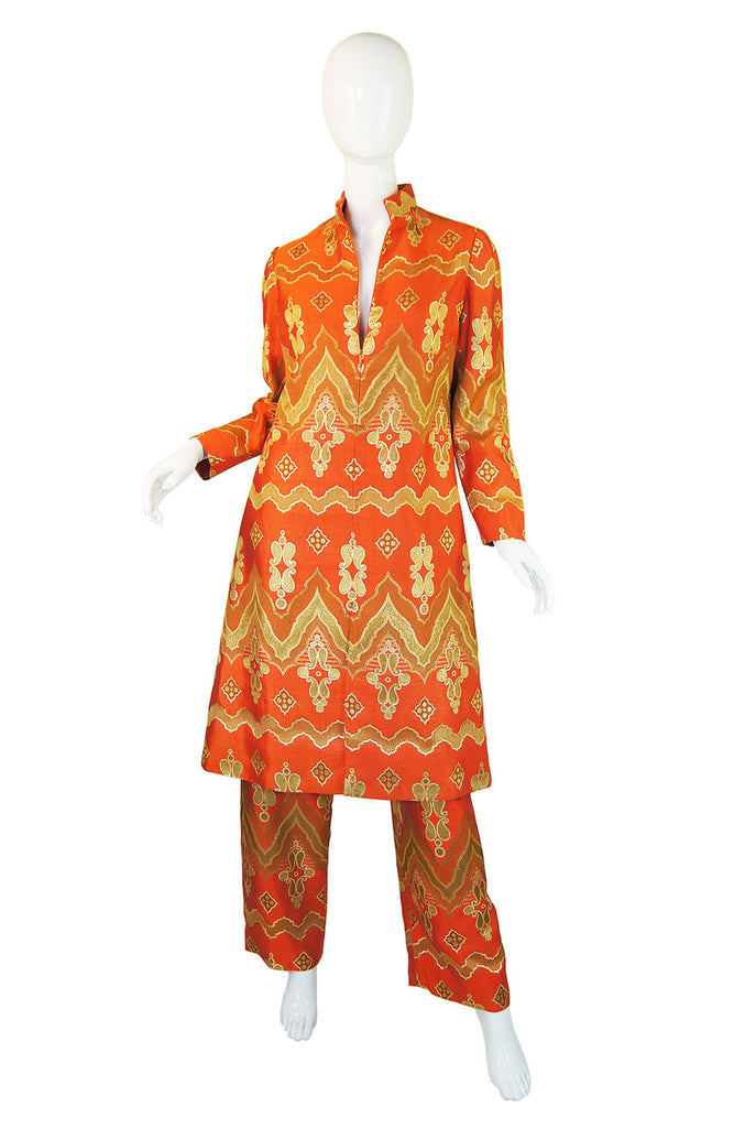 1960s Orange & Gold Mollie Parnis Set