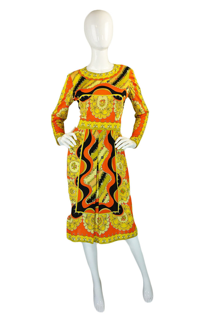 1960s Citrus Emilio Pucci Jersey Dress