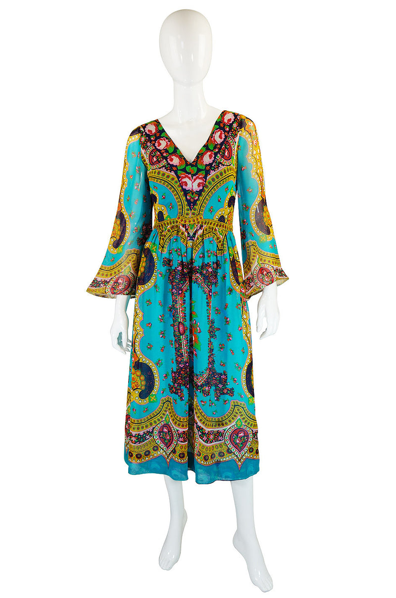 1960s Pat Sandler Boho Print Dress