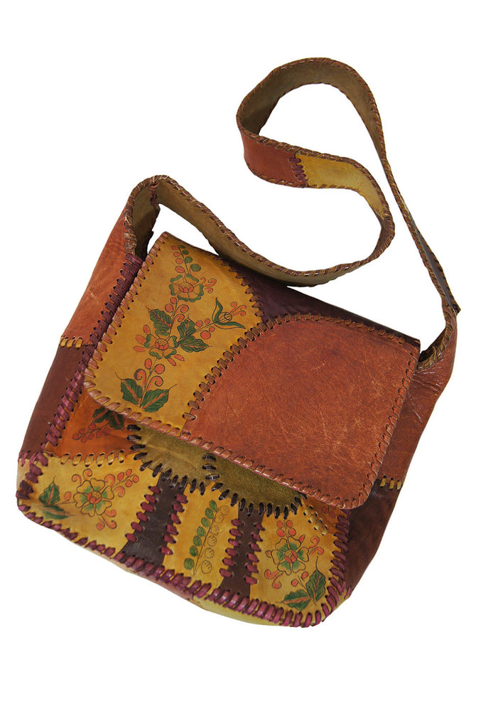 1970s  Hand Painted Patchwork Char Bag