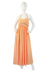 1960s Beaded Halter Victoria Royal Gown