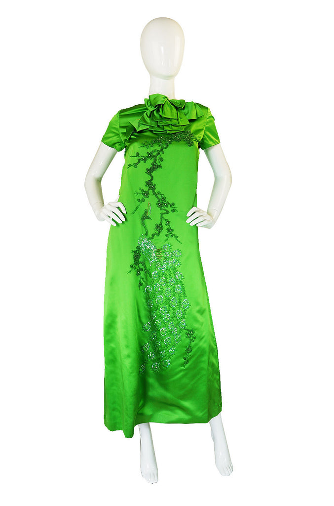 1960s Vibrant Emerald Beaded Silk Gown