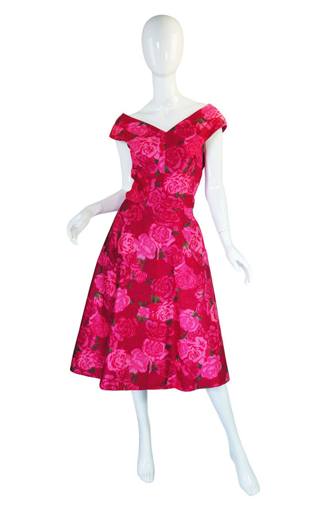1950s Pink Floral Print Full Skirted Dress