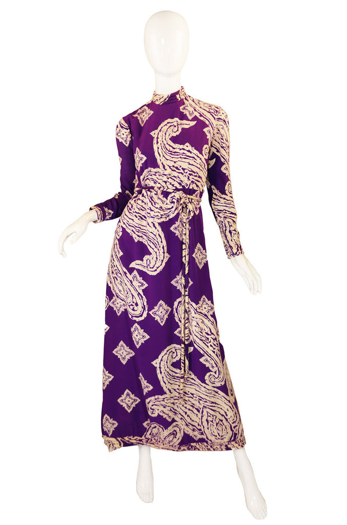 1960s Silk Print Bill Blass Maxi Dress