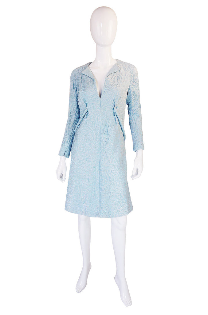 1960s Baby Blue Pauline Trigere Shift Dress
