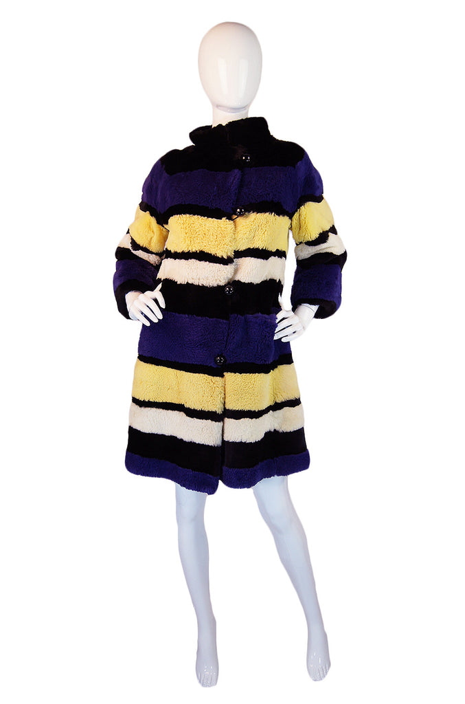 1960s Purple & Yellow Sheared Beaver