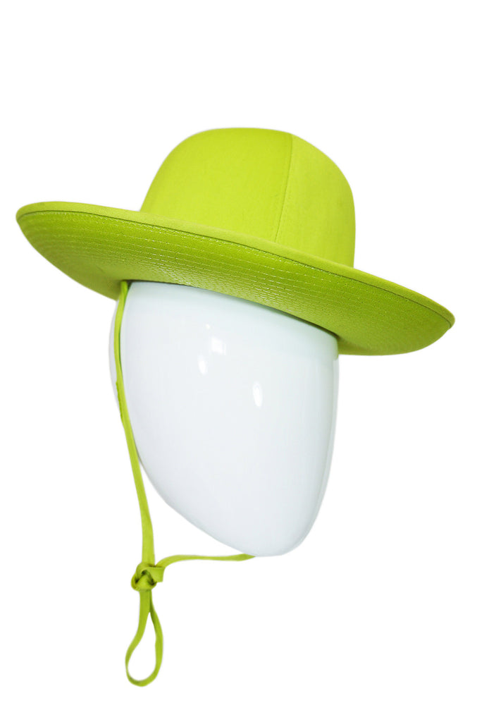 1960s Round Lime French Hat with Tie