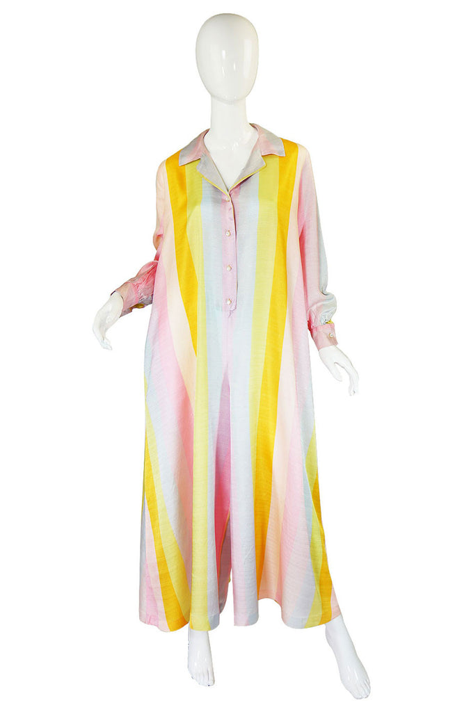 1960s Schiaperelli Silk Striped Jumpsuit