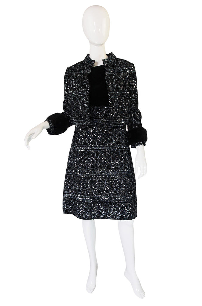 1960s Sequin and Mink Jacket & Dress