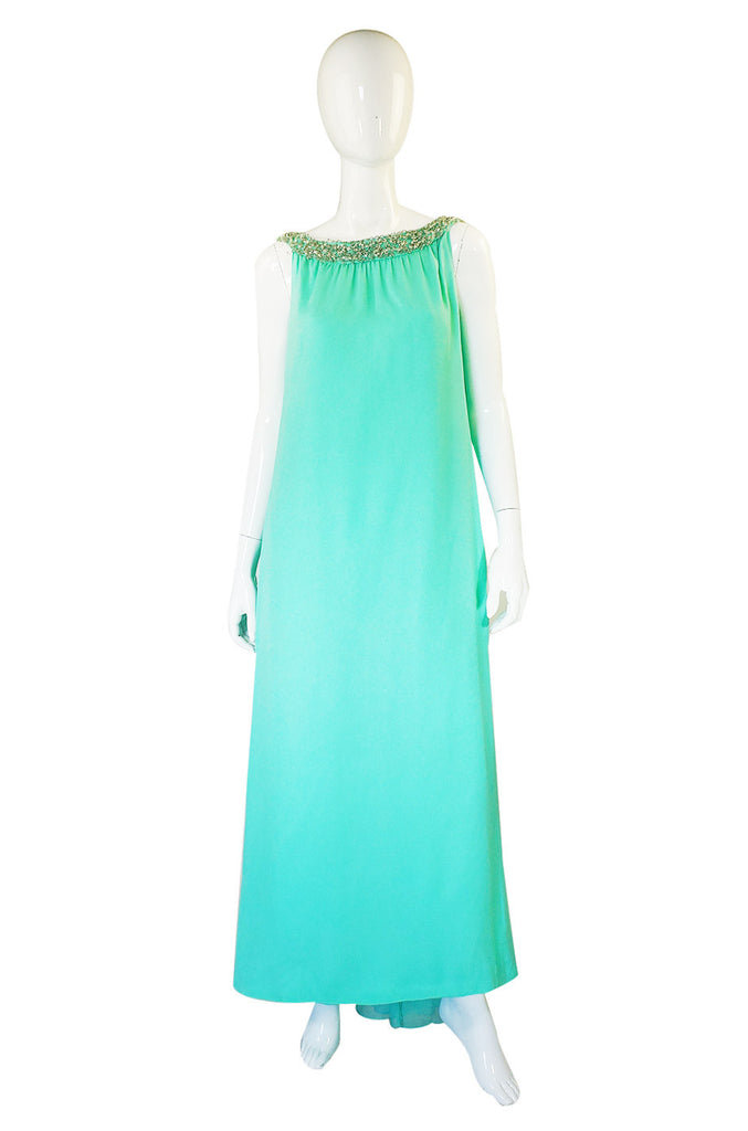 1960s Silk Chiffon Turquoise Bead Gown