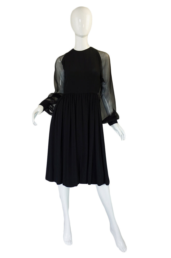 1960s Black Silk & Chiffon Galanos Balloon Sleeve Dress