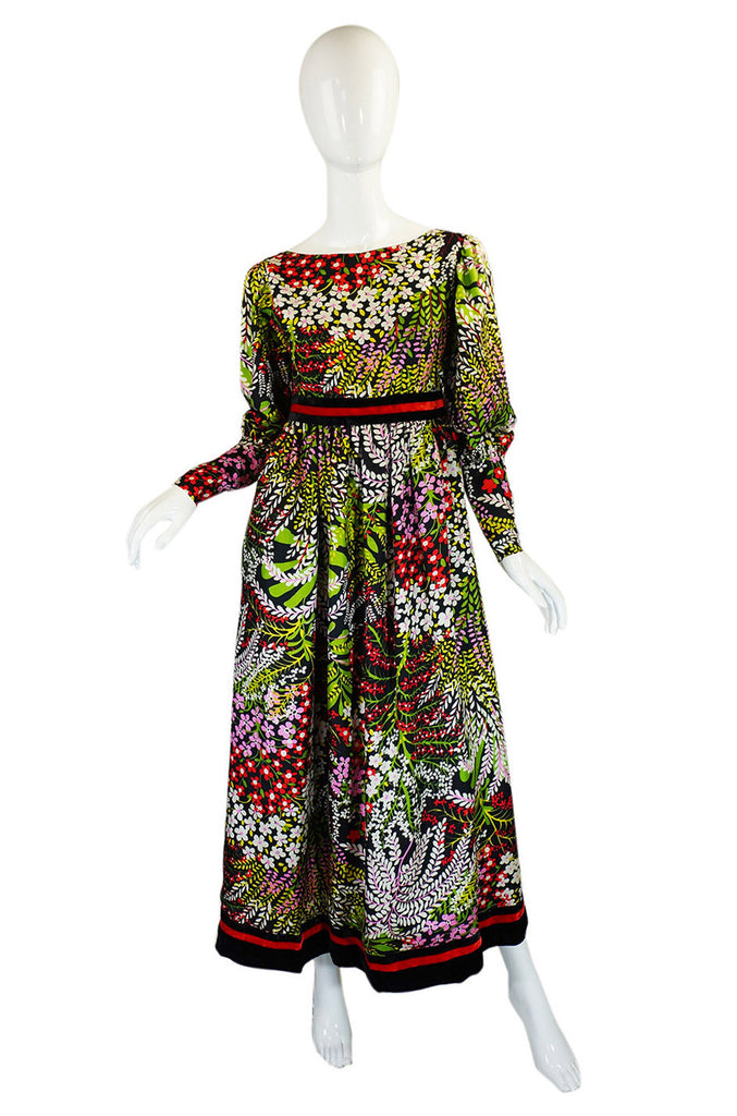 1960s Silk Floral Mollie Parnis Maxi Dress