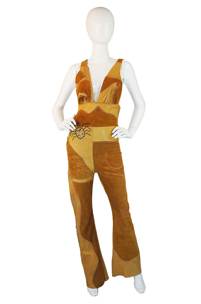 1960s Studded Halter Leather Jumpsuit