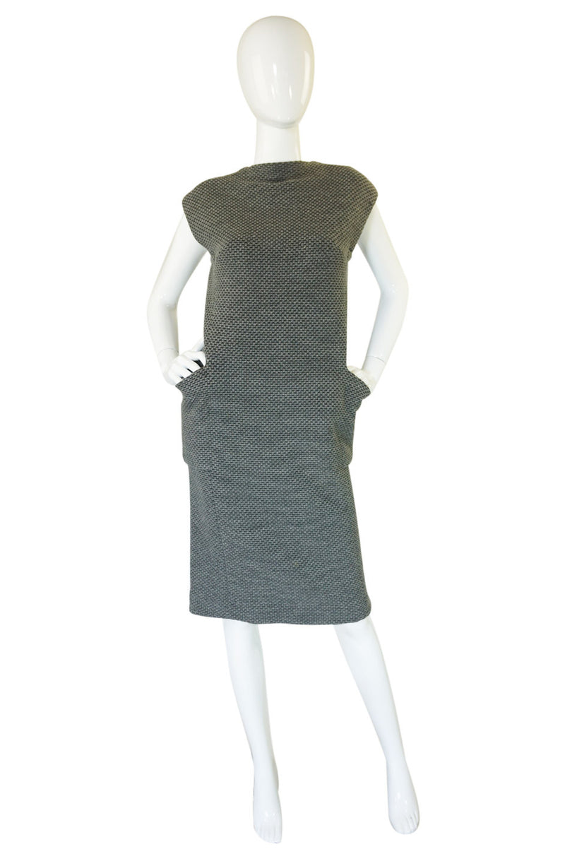 1960s Grey Wool Pauline Trigere Sheath
