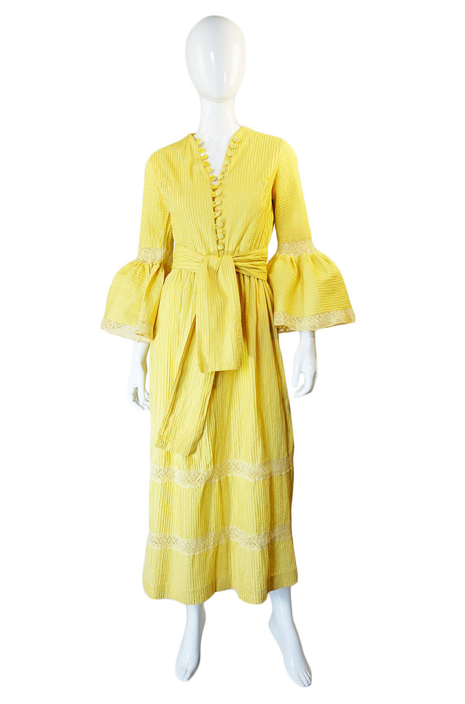 1950s Yellow Mexican Pin Tuck Dress
