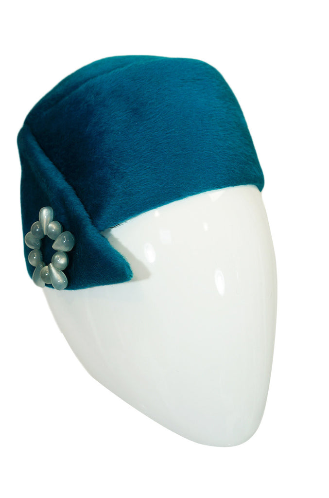 1960s Dior Blue Pillbox with Bead Detail