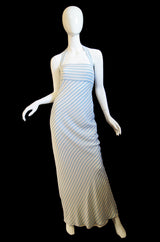1970s Bias Cut Silk Striped Bill Blass Maxi