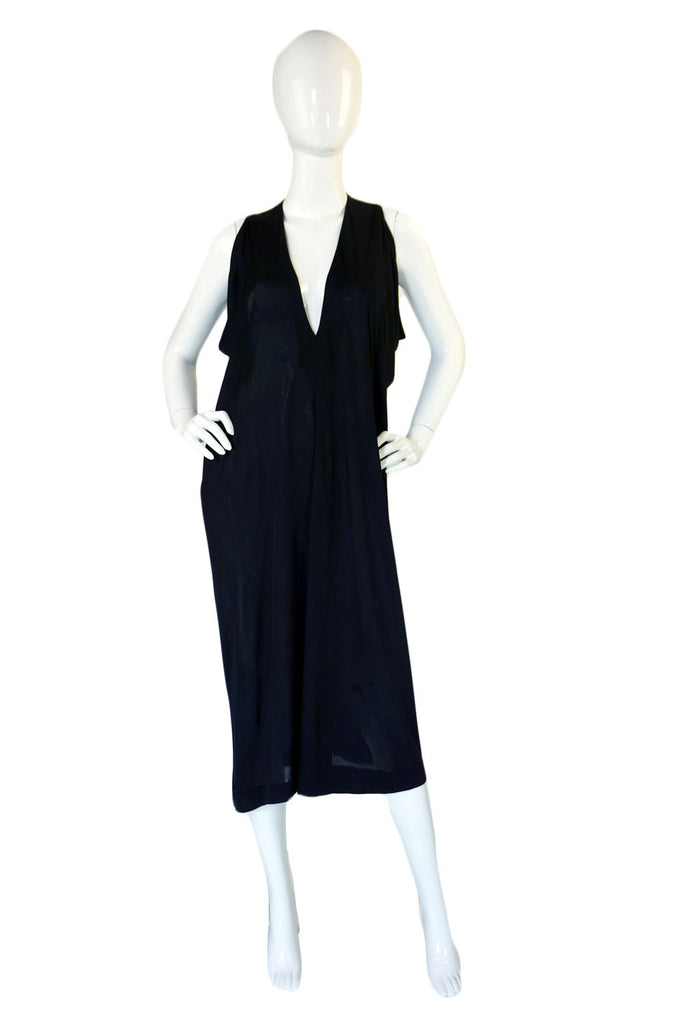 1970s Black Drape Mollie Parnis Dress