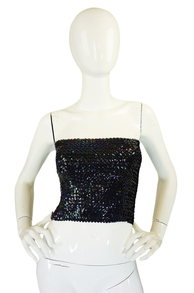 1970s Iridescent Blue Sequin Tube Top