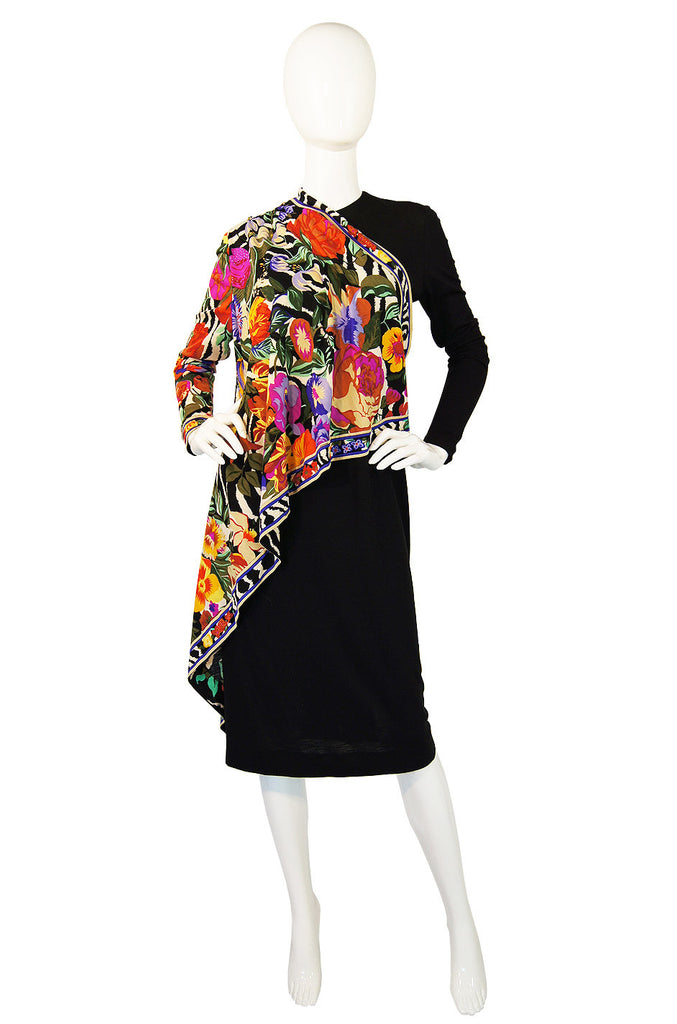 1970s Caped Jersey Leonard Paris Dress
