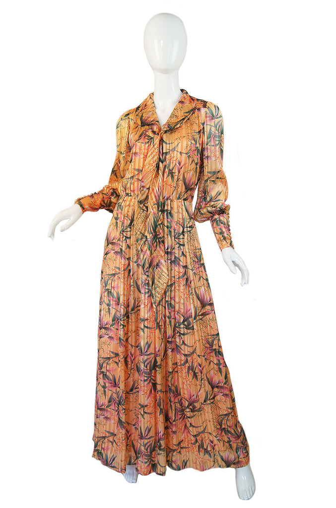 1970s Striped Chiffon Peach Maxi Dress