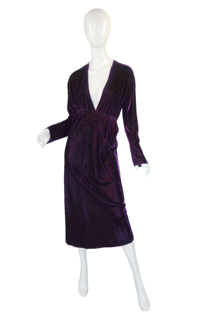 1970s Purple Velvet Halston Plunge Dress