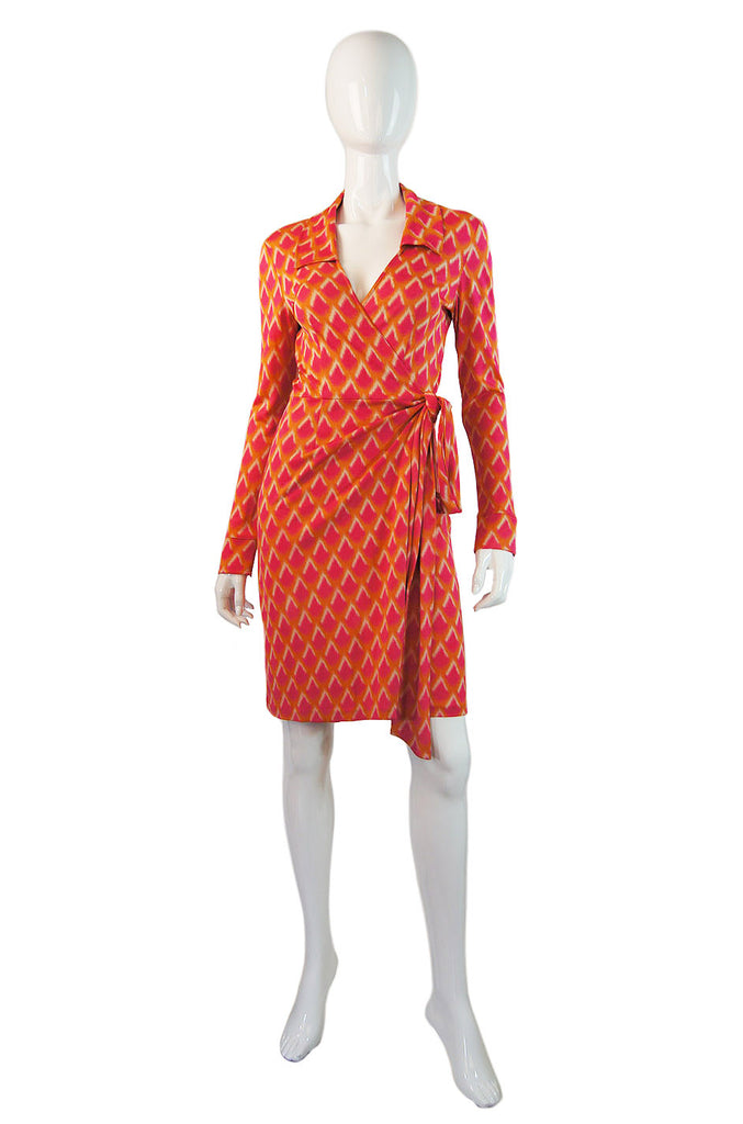 1970s Pink & Orange DVF Silk Wrap Dress