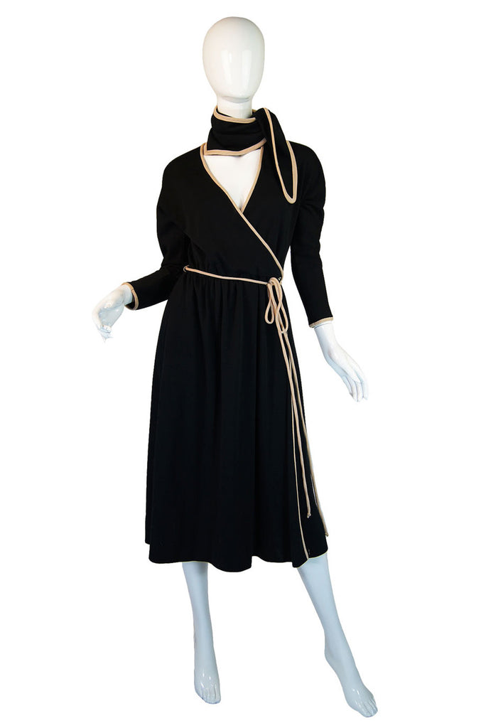 1970s Donald Brooks Wrap Jersey Dress