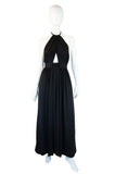 1970s Estevez Twist Halter Maxi Dress