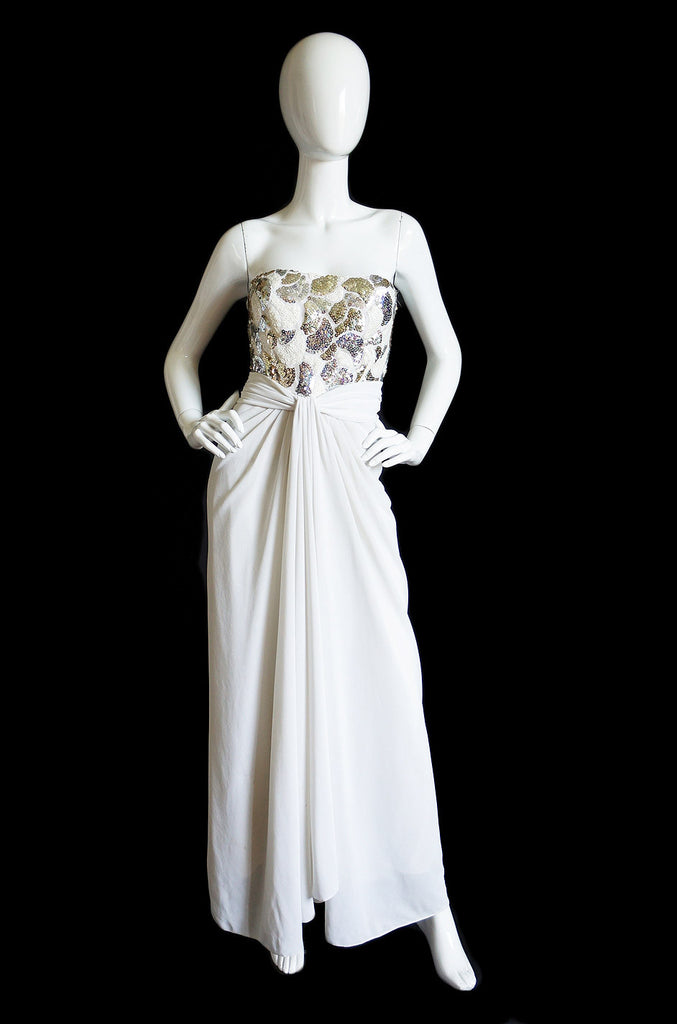 1970s Estevez White & Sequin Gown
