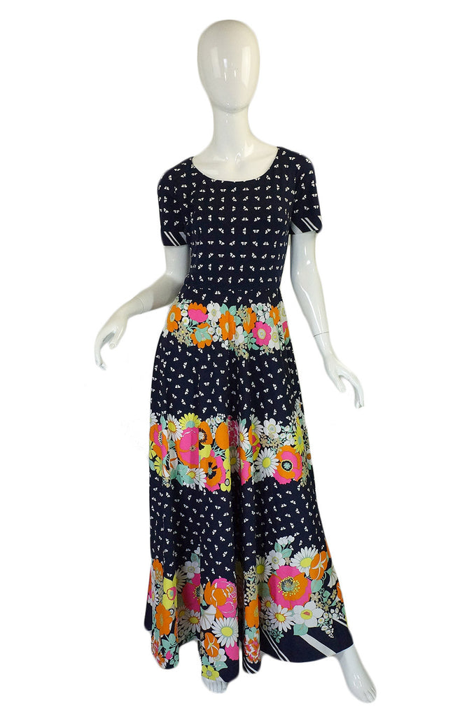 1970s Floral Logo Lanvin Maxi Dress
