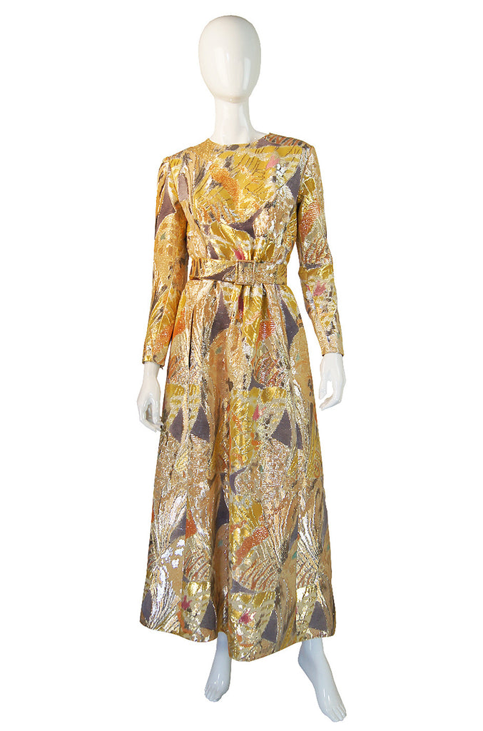 1960s Givenchy Gold Silk Metallic Gown