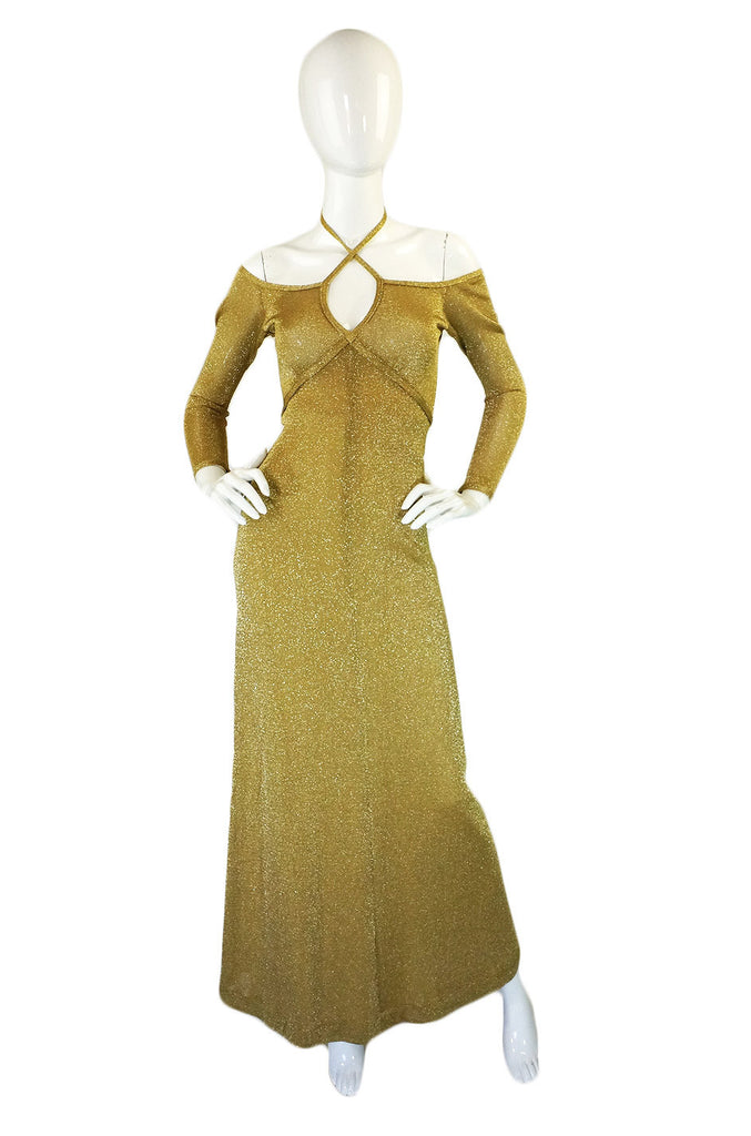 1970s Gold Metallic Knit Maxi Dress