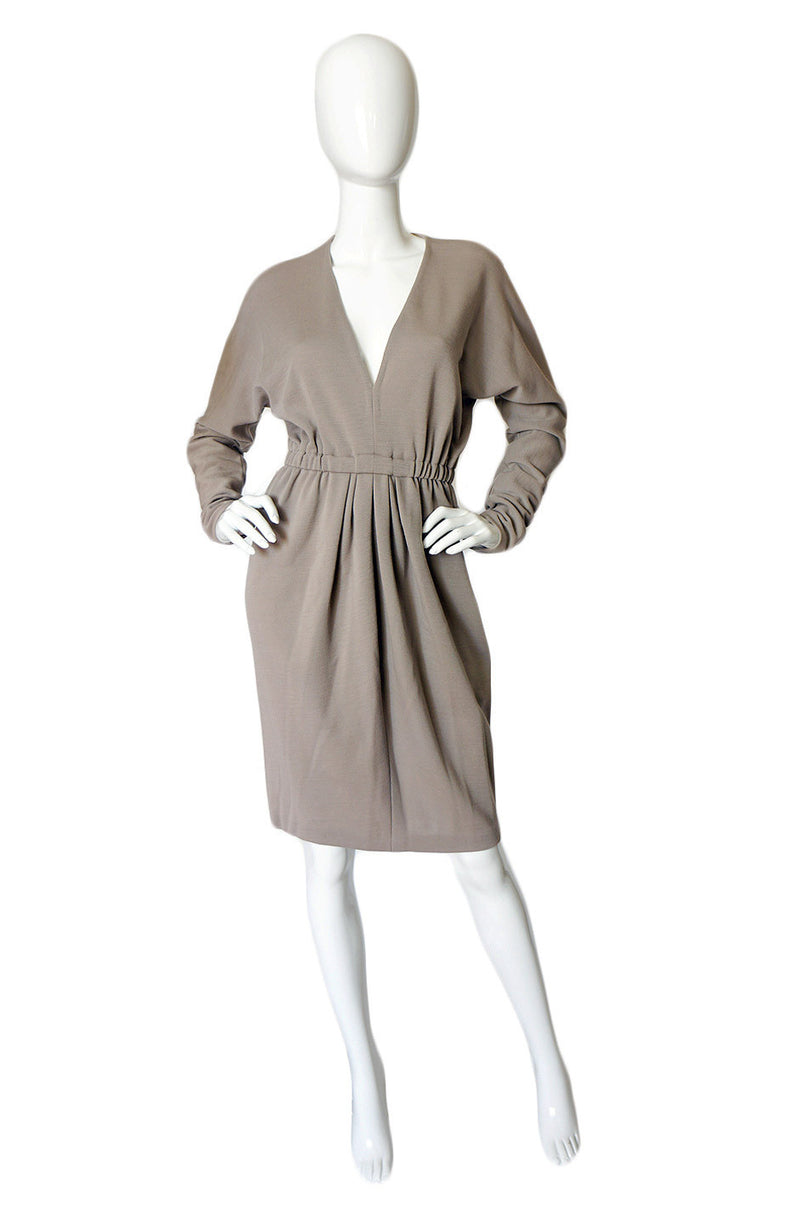 1970s Taupe Grey Plunge Halston Dress