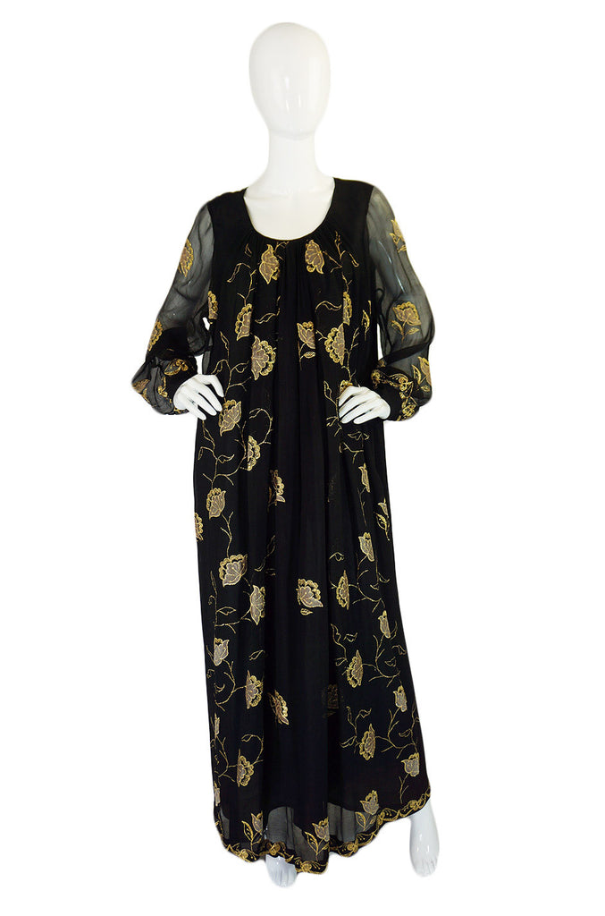 1970s Gumps Embroidered Caftan Dress