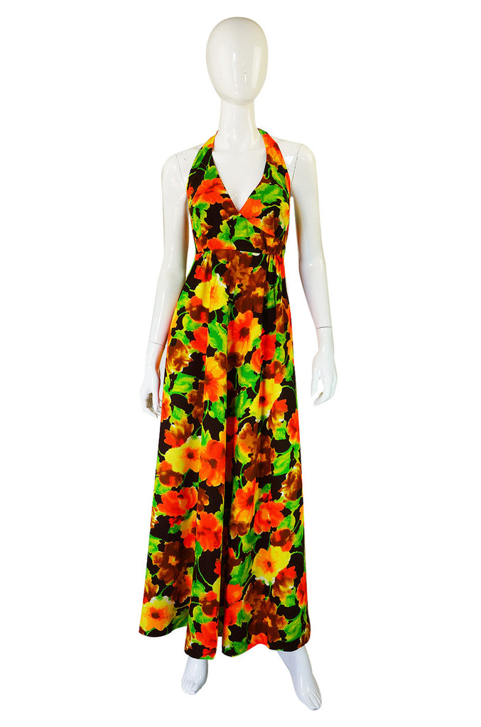 1970s Hawaiian Barkcloth Halter Dress
