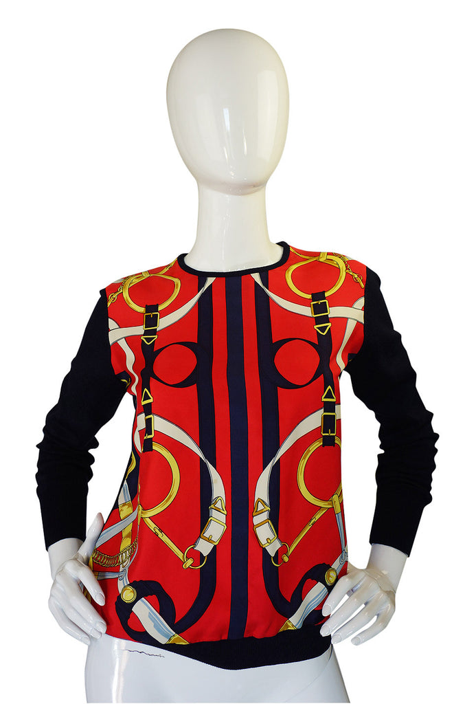 1970s Hermes Silk Print & Knit Top